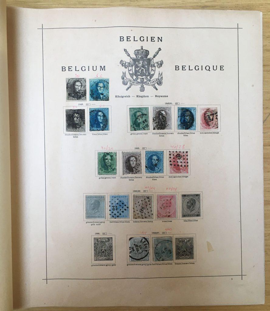 oude belgische postzegels in wereldalbum